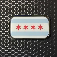 "Chicago Flag Domed CHROME Emblem Windy City Proud Flag Car Sticker 3D 3""x 1.8"""
