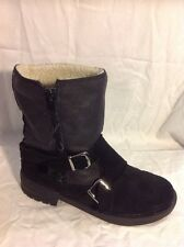 Miss Selfridge Black Ankle Leather Boots Size 5