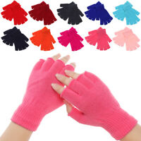 Color Soft Keep Finger Warm Half Finger Mittens Short Knitted Gloves Thick Warm