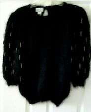 Vintage Elegant PAAVIA Black Angora Dressy Sweater with Metal Dangle Beads Med