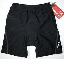 "TYR Men's Small Black Grey Shorts 7"" Triathlon Exercise Amp Pad Made in USA New"
