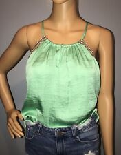 The Limited Women's Top Size M Strap Sleeveless Embellished Keyhole Front Mint