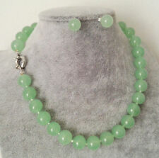 Natural 10mm Light Green Jade Round Gemstone Beads Necklace Earring Jewelry Set