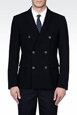 Emporio Armani Runway MATT LINE Double-Breasted Knit Navy Blazer Jacket 46 IT