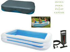 INTEX LARGE RECTANGULAR FAMILY SWIMMING PADDLING POOL + Pump & Cover