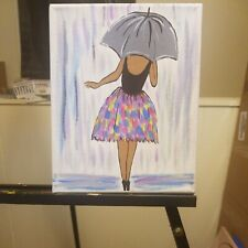 Black Artwork 16x20 inch Canvas Acrylic Painting (Covered)