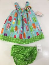 BONNIE JEAN TODDLER GIRL BONNIE  BABY 2-PIECE POPSICLE DRESS MULTICOLOR 24M NWT