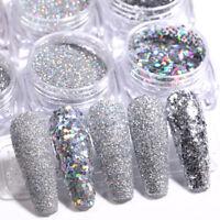 6pcs/Set Blue Red Colorful Nail Glitter Set Holographics Nail Powder Flakes DIY
