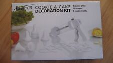 NEW Homemate COOKIE & CAKE DECORATION KIT (1 cookie press, 12 nozzles & 6 molds)