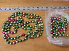 "Vintage Mercury Glass Bead Christmas Tree Garland Multi Color 72"""