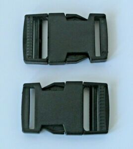 Pack 2 x 25mm Side Squeeze Quick Release Buckle Clips RS