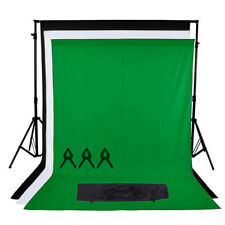 Studio photo noir blanc écran vert fond chroma key background stand kit