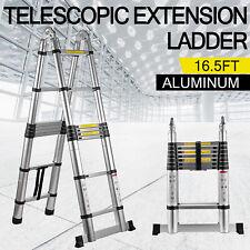 16.5Ft Aluminum Telescopic Extension Folding Step Multi-Use Non-Slip Ladder 5m