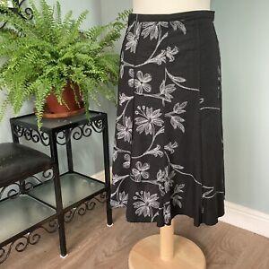 Festa 14 - Black Embroidered Style Floral Skirt A-Line Summer Linen Cotton Blend