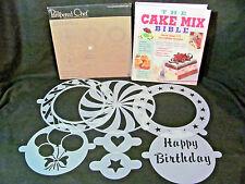 Pampered Chef Cake Stencil Set 7 Mylar Stencils plus The Cake Mix Bible Cookbook