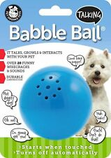 Pet Qwerks Talking Babble Ball Medium Touch Activated Solid Dog Ball Toy Blue