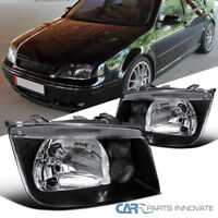 Fit VW 99-05 Jetta Bora Mk4 MkIV Black Headlights+Built In Fog Lamps Left+Right