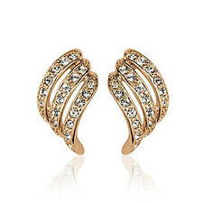 ITALINA 18K ROSE GOLD PLATED CLEAR GENUINE AUSTRIAN CRYSTAL CLIP-ON EARRINGS