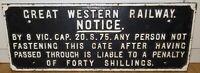 .RARE / VINTAGE / LARGE / HEAVY SET CAST IRON GREAT WESTERN RAILWAY SIGN.