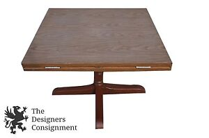 """Convertible Round Square Multi-Use Drop Leaf Dining Card Game Table Oak 42"""" 60"""""""