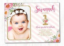 Floral First 1st Birthday Invitation Pink and Gold Party Invite Flower Rose Card