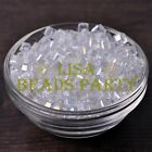 25pcs 6mm Cube Square Faceted Crystal Glass Charms Loose Spacer Beads Clear AB