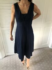 Per Una Navy Broderie Anglias Fit & Flare Dress Size 12 Nwt