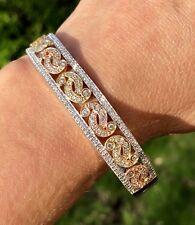 "Pave Diamond 14K White Rose Yellow Gold Contemporary Scroll Bangle Bracelet 7"""