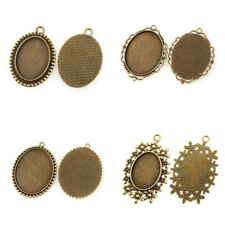 10pc Alloy Vintage Tray Pendant Cabochon Bezel Setting Antique Bronze Blank Oval