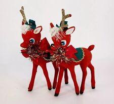 """Vintage 2 Christmas Reindeer 12"""" Figures Red Flocked Green Felt Hat Yarn Tinsel"""