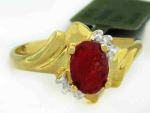 GENUINE 1.22 Cts RUBY & DIAMONDS RING 10K GOLD ** Free certificate Appraisal **