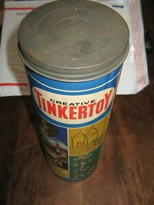 Vintage 1970s TINKERTOYS  All Wooden w Plastic Connectors VERY NICE CONTAINER
