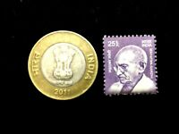 India Collection - Unused Gandhi Stamp and Used 10 Rs Coin - Educational Gift
