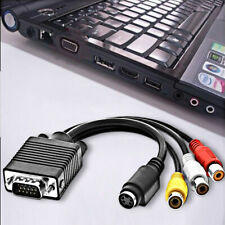 VGA SVGA to S-Video 3 RCA AV TV Out Cable Adapter Converter Computer Laptop PC