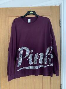 Ladies Large Pink Victoria's Secret Long Sleeved Purple Top