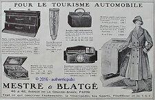 PUBLICITE MESTRE & BLATGE MALLE MALETTE PORTE BOUQUET GARNITURE DE 1923 AD PUB