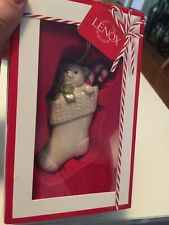 NEW IB Lenox Christmas Ornament Peeking Stocking Bear 4""