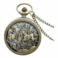 Vintage Hollow Three Horse Quartz Pocket Watch Necklace Chain Pendant I9F9