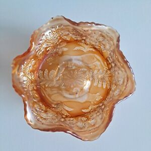 FENTON Art Glass Antique Panther Marigold Carnival Footed Small Berry Bowl