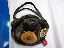 BEARINGTON BEAR COLLECTION PLUSH BLACK BEAR PURSE TAKE ALONG KIDS HANDBAG NWT