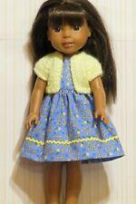 Dress fits 14.5 inch dolls such as Wellie Wisher, handmade blue yellow 10K