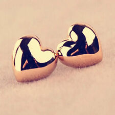 Charm Lady Heart Earrings Silver/Gold Plated Yellow Gold Filled Ear Stud Jewelry