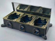Hubbell B4314 Semi-Adjustable Shallow Rectangular Three Gang, Cast Iron, Used