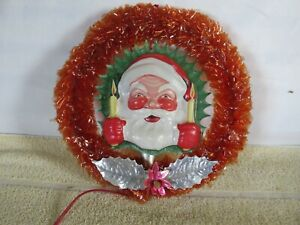 Vintage Christmas Decoration, Wreath with Santa, Cellophane,  Light-Up, Miller
