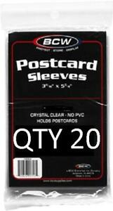 Postcard Poly Ultra Thin Sleeves 3 11/16 X 5 3/4 BCW New QTY 20