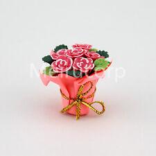 1/12 Scale Dollhouse Accessories floral Pink flower arrangement Hand paper box
