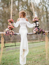Chiffon Long Sleeve Wedding Dress Boho Bohemian Mermaid Bridal Gown Sz 4-16+