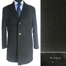 Blazer Mens Overcoat Size 40S Dark Grey Wool Mix Single Breasted Coat Jacket