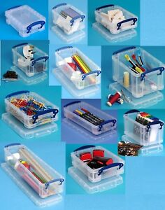 0.2 Litre-4 Litre Multi-Pack Really Useful Boxes Small Clear Lidded Storage Box!