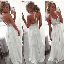 Newest Halter Beach Summer Chiffon Bridal Gown Wedding Dress 4 6 8 10 12 14 16 +